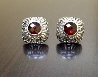 Art Deco Garnet Earrings - Sterling Silver Garnet Stud Earrings - Art Deco Earrings - Silver Garnet Earrings - Round Garnet Studs - Jewelry