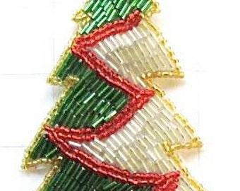 "Holiday Christams Tree,  All Beaded 6""x  3"" - JJX316-box37"