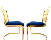 Set of 4 Brass & Navy Cantilever Chairs by Cidue Vincenca || + Custom Upholstery Available +