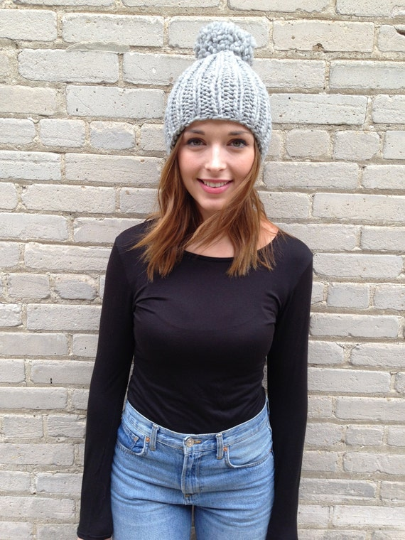 Giant Pom Pom wool hat available in different colors light grey chunky knit rib