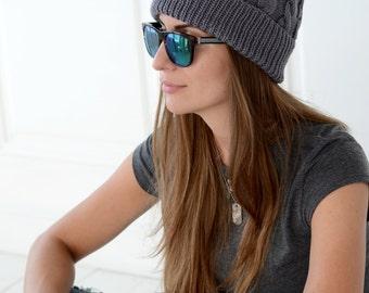 Knit hat in grey with fur pompom, Knit beanie, Women pom pom hat, Winter cable knit hat, Pom pom fur beanie, Cable knit hat, Womens knit hat