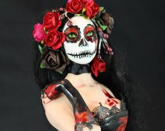 Dia De Los Muertos OOAK doll IADR Sculpture Figurine fairy