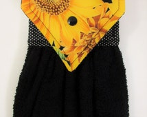 Hanging Hand Towel, Sunflower Kitchen Towel, Black Hanging Hand Towel, Sunflower Decor, Autumn Hand Towel, Sunflower Kitchen