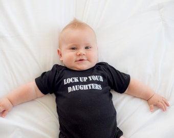 Infant Boy Clothing, Lock Up Your Daughters, As Seen on the Style Network, Baby Boy Onesie, Onesie for Infant Boy
