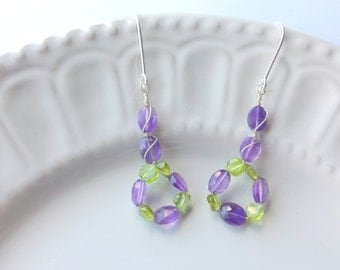 Amethyst and Peridot earrings, Purple earrings, Green earrings, Amethyst earrings, Gemstone earrings, February Birthstone, August Birthstone
