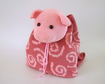 Crochet pattern for pig backpack. Cute and practical accessory for kids. Charts with symbols, written instructions, photo tutorial.