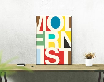 Modernist Colours Typography Poster - Swiss Helvetica Graphic Design Art
