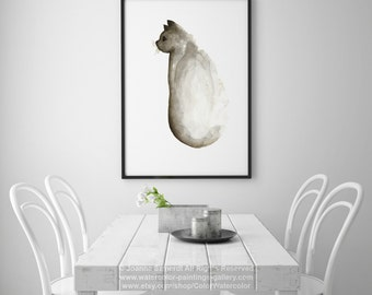 Cappuccino Cat Watercolor Painting, Abstract Animal Brown Kids Room Decor, Cats Gift Idea, Beige Art Print Kids Wall Painting