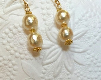 Bridal 18K Gold Vermeil Miriam Haskell Pearl Earrings, Ivory Wedding Jewelry, 18K Gold Vermeil over Sterling Components, Ready to Ship