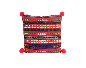 Cushion Pillow Cover With Pom Pom Tribal Fabric Thailand
