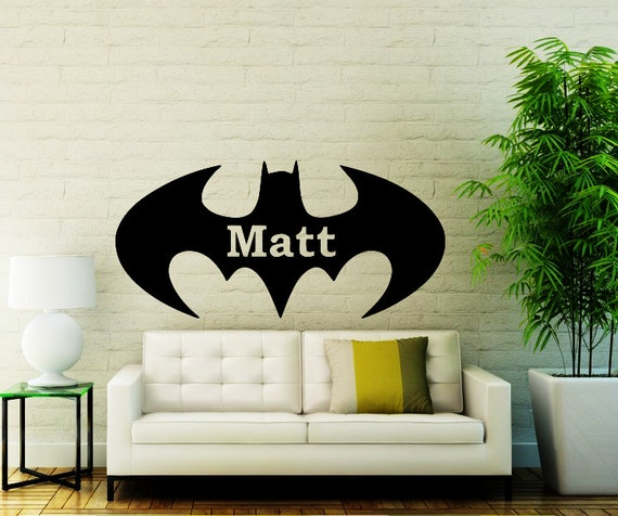Name wall decals personalized batman decal by vinyldecals2u for Batman wall mural decal