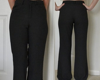 High Waisted Wide Leg Flared Trousers 70s Style / Small