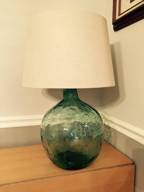 Large Antique Demijohn Bottle Table Lamp