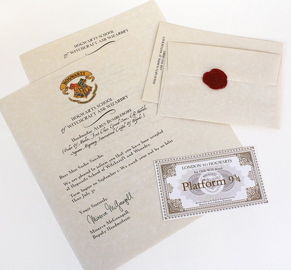Hogwarts Acceptance Letter Package Harry By