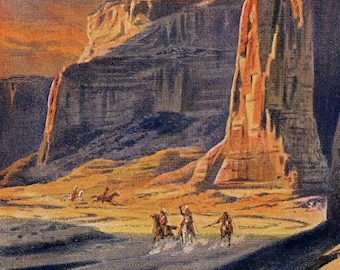 The Captains at Arizona's Canyon de Chelly - Antique Lithograph C. 1900 - Wall Art - Travel, Wanderlust, Adventure - Rock Formations