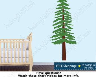 Pine Tree Wall Decal, Pine Tree Decals, Tree Wall Stickers, Tree Nursery Decals  (Pine Tree Only Stock)
