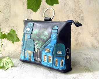 Leather clutch purse ldark blue eather cosmetic bag with appliqué and painting  shoulder bag