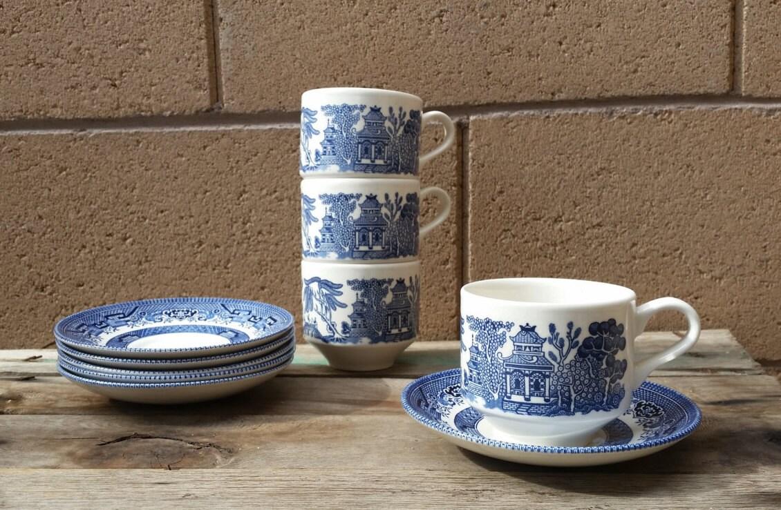 Blue Willow Tea Set Teacups And Saucer Churchill Staffordshire