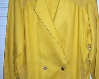 Vintage Ellen Tracy Yellow Linen Sweater Jacket.  Beyond Smart  - Large - XL