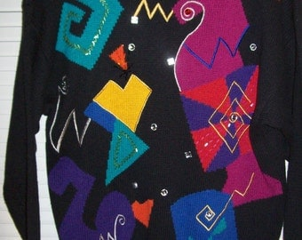 Vintage Novelty Sweater Featuring Different Decor of One's Imagination .  Size large