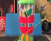 Personalized teacher's gift pencil holder