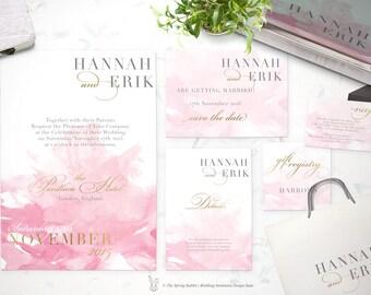 Watercolor Wedding Invitation Suite - Customizable Wedding Invites - DIY Wedding Invitation Set - Pink and Gold Wedding Invite