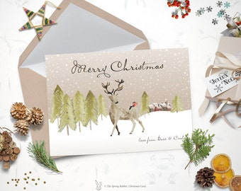 Christmas cards printable holiday card deer holiday card printable watercolor deer christmas card holiday card 5 x7 do it yourself printable solutioingenieria Gallery