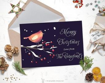 Printable set of 3 christmas cards holiday card do it printable robin christmas card holiday card 5 x7 do it yourself customizable printable solutioingenieria Gallery