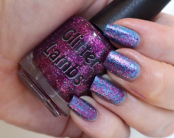 Fuzzy Mittens Nail Polish-Glitter Lambs Nail Polish- Purple Glitter Topper Nail Polish-Purple Glitter Nail Polish-Purple Glitter Nail Polish