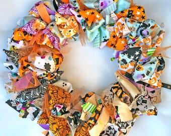 "Halloween Holiday Fall Pumpkin Riley Blake fabric ribbon wreath 12"" 14"" 16"""