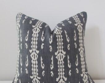 Charcoal Ikat Linen Decorative Pillow Cover Throw Pillow, Accent Pillow, Toss Pillow 16 18 20 22 24 26 Euro