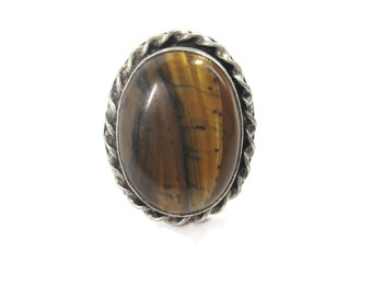 Vintage Chunky Tigereye Ring Sterling Size 8