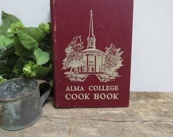Alma College Cook Book 1948 Antique Vintage Recipe Book 1940s Mid-Century