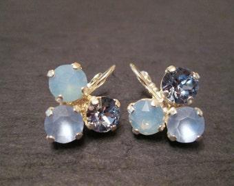 Swarovski Blue Crystal Earrings/Bridesmaid Earrings /Swarovski Earrings/Bridesmaid Jewelry/ Mother of the Bride/Light Sapphire Earrings