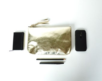 evening bag gold leather