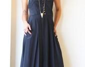 Black Maxi Dress / Bridesmaid Dress / Elegant Pleated Pockets Dress / Women Clothing / Sleeveless Dress / Women Evening Dress - Nefertiti