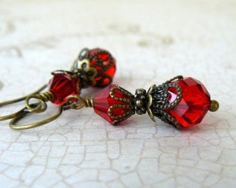 Vintage Style Bright Red Crystal Dangles, Victorian Inspired Bridesmaid Earrings, Romantic Crystal Beaded Drops, Red Wedding Party Jewelry