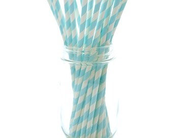 Light Blue Striped Straws, Vintage Party Straws, Barbershop Stripe Straws, 25 Pack - Light Blue Stripe Straws
