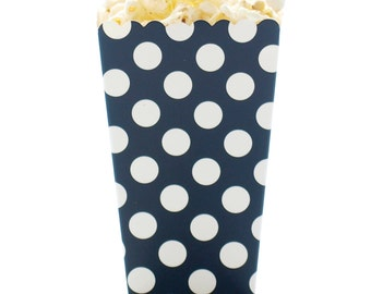Popcorn Boxes, Black Polka Dot (12 Pack) - Small Favor Boxes, Movie Theater Popcorn Tubs, Gourmet Candy Cartons