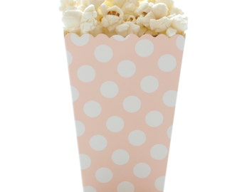 Popcorn Boxes, Light Pink Polka Dot (12 Pack) - Movie Theatre Popcorn Candy Boxes, Candy Buffet Treat Boxes