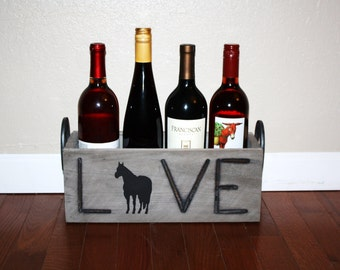 Horse Wine Box ~ Love Horses Decor ~ Branding Iron Box~ Ranch Decor ~  Western