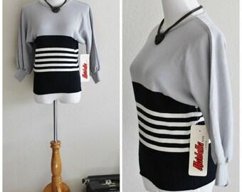 Vintage 70's Black Gray White Color Block Striped Dolman Sleeve Ribbed Knit Crop Sweater Jumper Marabella II California NWT