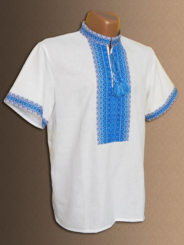 Ukrainian embroidered shirt for men vyshyvanka with short