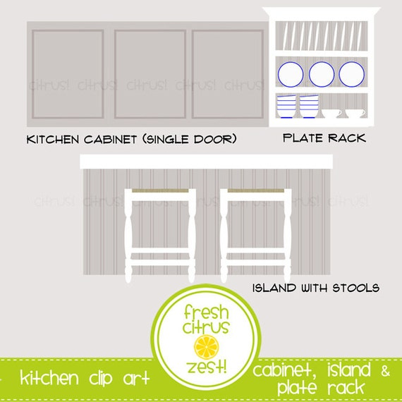 Kitchen Drawer Clip Art: Kitchen Clip Art Cabinet Plate Rack Island With Stools