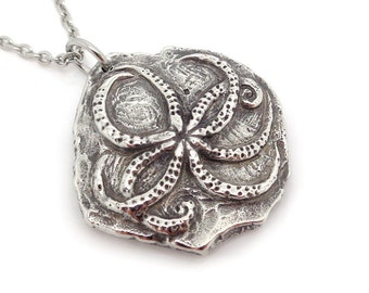 Octopus Fossil Necklace in Pewter, Archaeology Pendant Fossil Jewelry