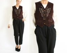 Vintage 70's 80's Dark Brown Corduroy Vest Waistcoat with Embroidery M/L