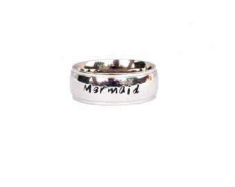 Mermaid - Ring Hand Stamped  jewelry mermaid ring gift mermaid quote Stainless Steel  i'm really a mermaid
