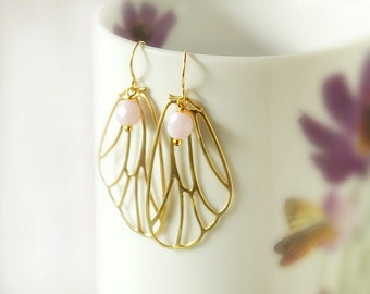 Butterfly earrings, Gold wing earrings, gold butterfly earrings, butterfly jewelry, romantic earrings, rose earrings, gold earrings