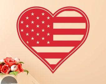 American Flag Love Heart Vinyl Wall Decal Sticker Patriotic