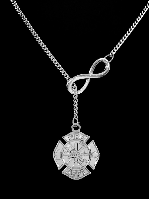 infinity maltese cross firefighter wife necklace girlfriend